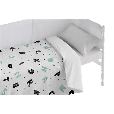 Kinderbett Bettbezug Alphabet I Weiß 100x120 + 50x30 cm