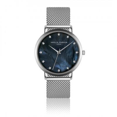 Uhr Eternity Blue   Silbernes Mesh