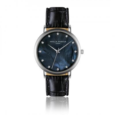 Uhr Eternity Blue   Schwarzes Leder