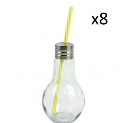 Lampenförmiges Trinkglas mit Strohhalm | 8-teiliges Set