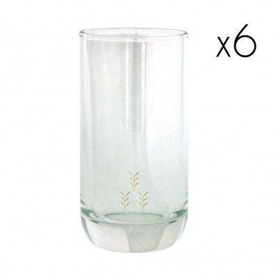 Water Glasses Gold Arrows High   Set of 6