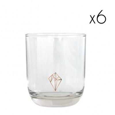 Water Glasses Copper Diamond   Set of 6