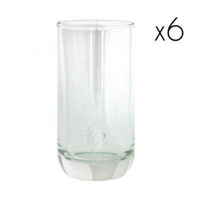Water Glasses Silver Diamond High   Set of 6