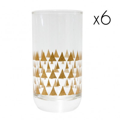 Water Glasses Triangle 2 High   Set of 6