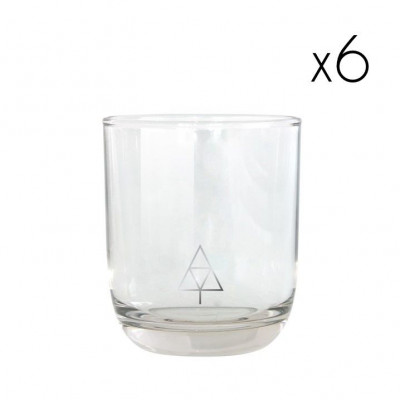 Water Glasses Silver Tree   Set of 6
