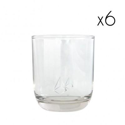 Water Glasses Silver Diamond   Set of 6