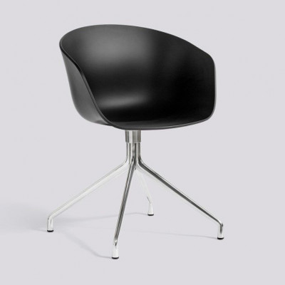 Über einen Stuhl AAC20 | Poliertes Aluminium & Schwarz