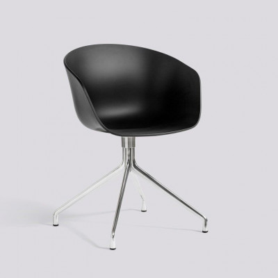 Sessel About A Chair 20 | Schwarzes und poliertes Aluminiumgestell