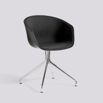 Sessel About A Chair 20 | Schwarz & poliertes Aluminiumgestell + Polsterung