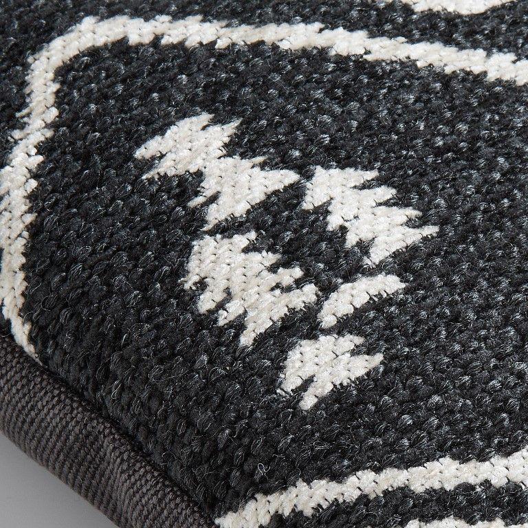 Kissen Azteke | Dunkelgrau & Weiß