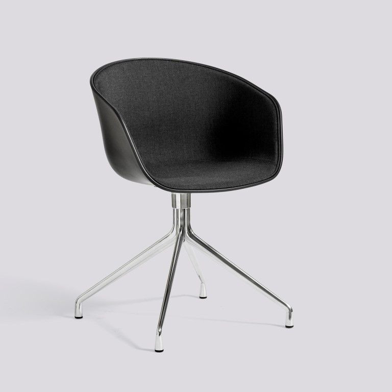 Fauteil About A Chair 20   Noir & Aluminium Poli + Revêtement