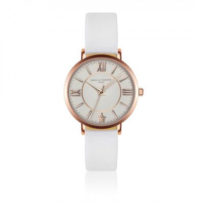 Uhr Petite Classique   Weißes Leder