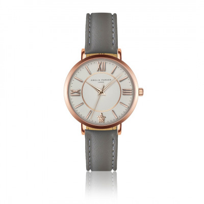 Uhr Petite Classique   Graues Leder