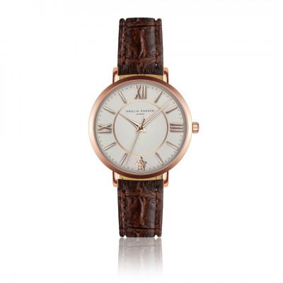 Uhr Petite Classique   Braunes Leder