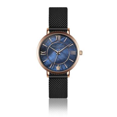 Uhr Petite Blue Black Mesh   Rose Gold