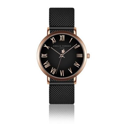 Uhr Grand Noir Black Mesh   Rose Gold