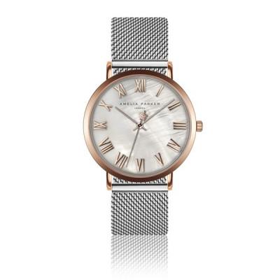 Uhr Classique Silver Mesh   Rose Gold