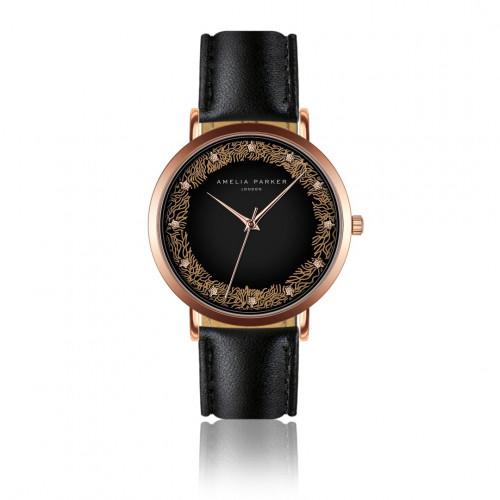 Uhr Coral | Schwarzes Leder