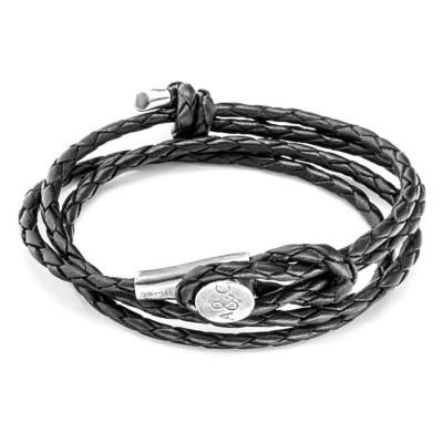 Leather Dundee Bracelet   Coal Black