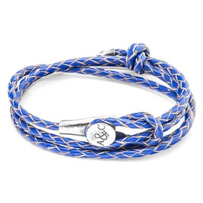 Leather Dundee Bracelet   Royal Blue