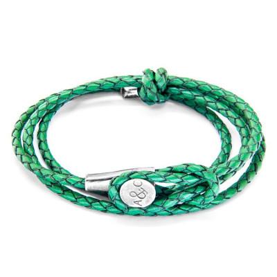 Leather Dundee Bracelet   Fern Green