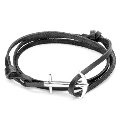 Leather Admiral Bracelet   Coal Black