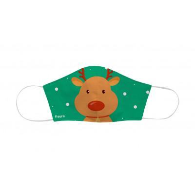 Kindergesichtsmaske zu Weihnachten | Rentier | Grün
