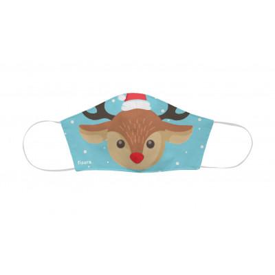 Kindergesichtsmaske zu Weihnachten | Hirsch | Hellblau
