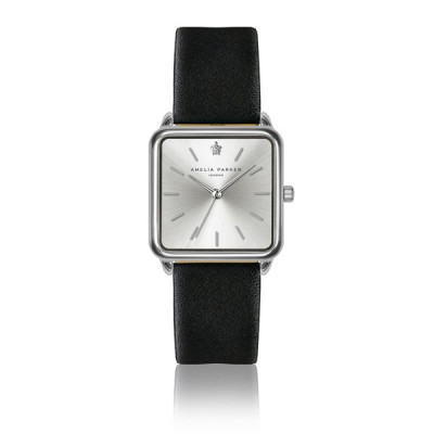 Uhr Plaza Black Leather   Silber