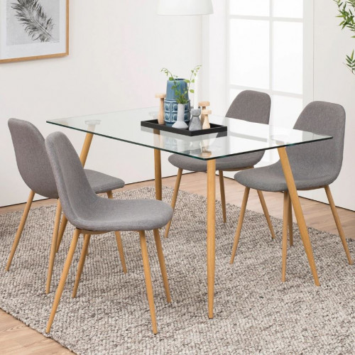 Set of 4 Chairs Wendy | Light Grey/Wood
