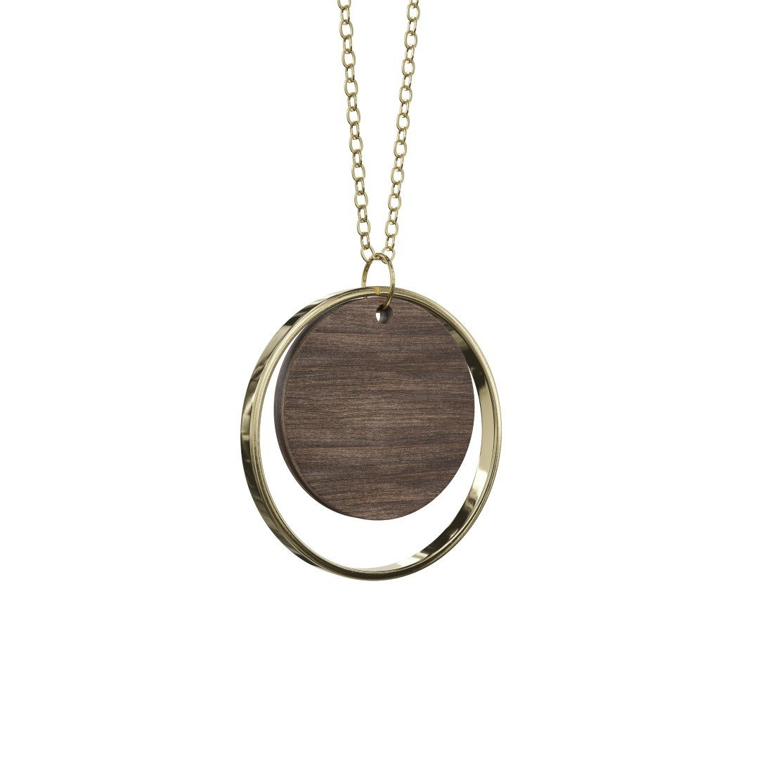Halskette Adverbium | Dunkles Holz & Gold