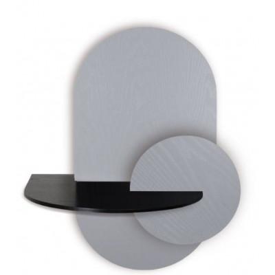 Ovaler Nachttisch mit Stauraum Alba Large | Grau, Schwarz & Grau