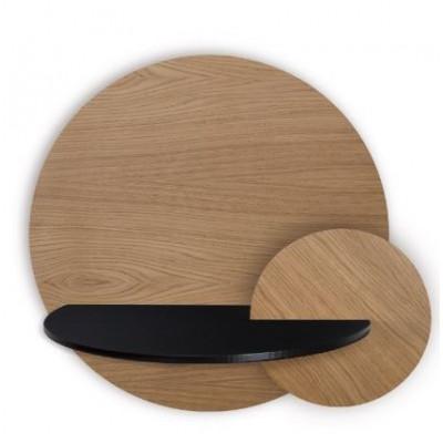 Runder Nachttisch mit Stauraum Alba Large | Eiche, Schwarz & Eiche