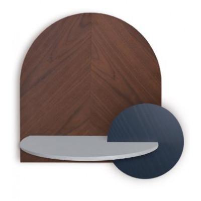 Fischgrät-Nachttisch mit Stauraum Alba Large | Nussbaum, Grau & Blau