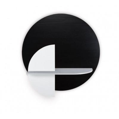 Kreisförmiges Wandregal mit Ablage Alba Medium | Schwarz, Grau & Weiß