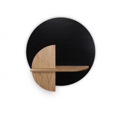 Kreisförmiges Wandregal mit Ablage Alba Medium | Schwarz, Eiche & Eiche