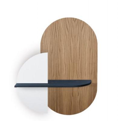 Ovales Wandregal mit Ablage Alba Medium | Eiche, Blau & Weiß