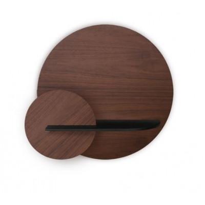 Kreisförmiges Wandregal mit Ablage Alba Medium | Nussbaum, Schwarz & Nussbaum