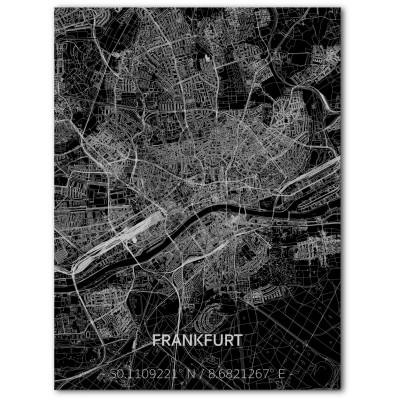 Metall-Wanddekoration | Stadtplan | Frankfurt