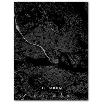 Metall-Wanddekoration | Stadtplan | Stockholm