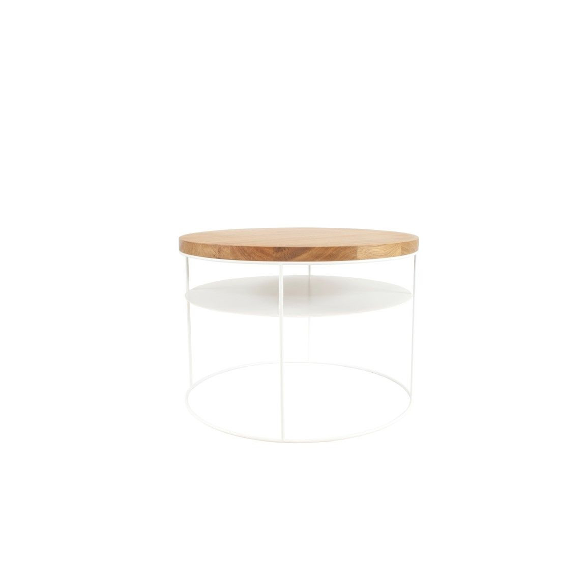 Amsterdam Side Table with Shelf | Oak and White