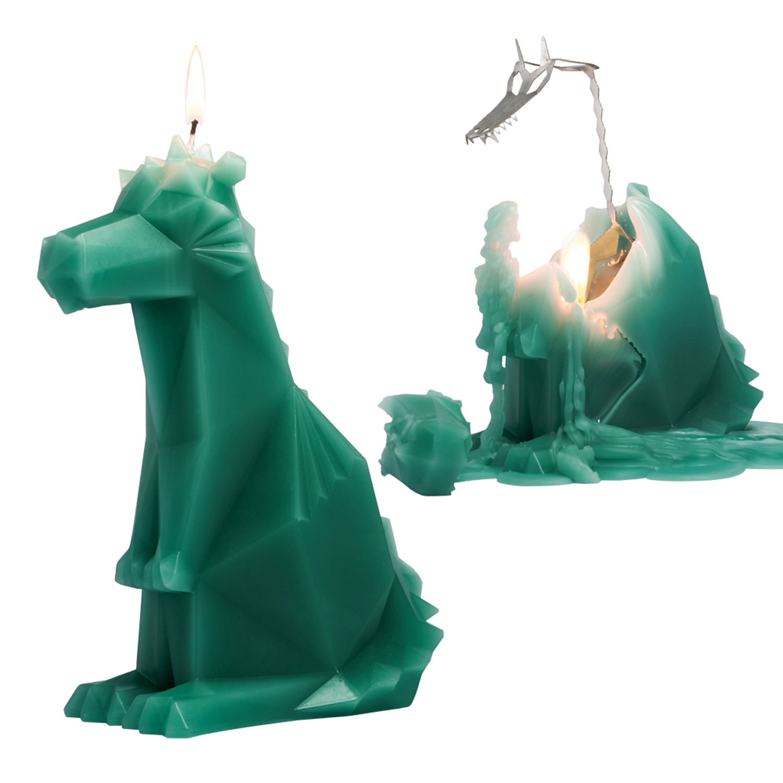 Kerze mit Skelettdrache Dreki   Grün