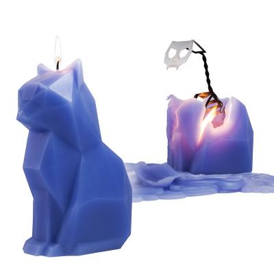 Kerze mit Skelett Katze Kisa   Lila