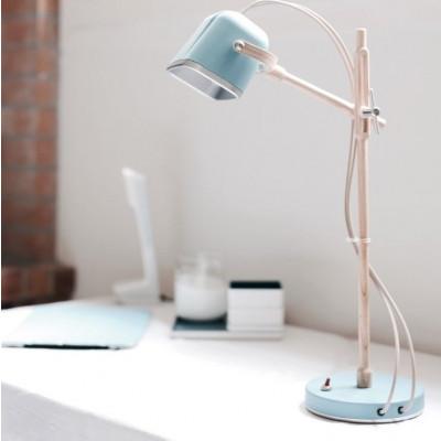 Wood MOB Lamp | Mat Light Blue
