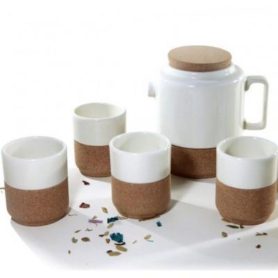 Set von 4 Teetassen weiß mit Teekanne