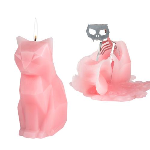 Kerze mit Skelett Katze Kisa   Rosa