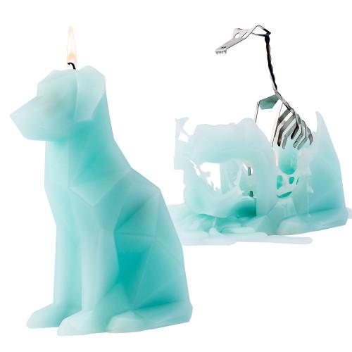 Kerze mit Skeletthund Voffi | Minze