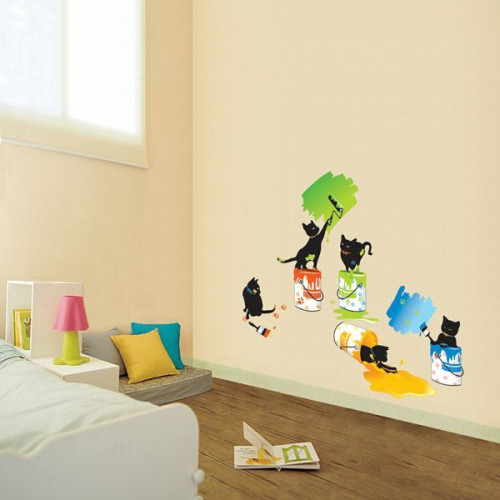 Cat and paint stickers