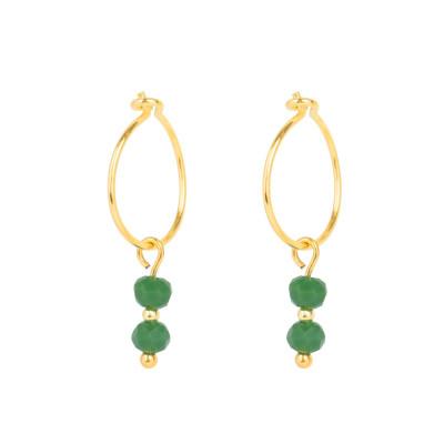 Ohrring | 2 Grüne Perlen