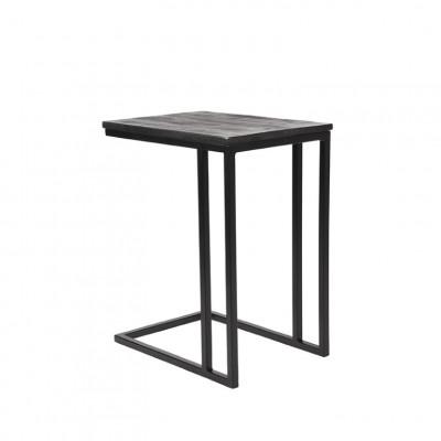 Laptop-Tisch Rechteckig   Schwarzes Mangoholz - Schwarzes Metall